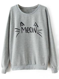 Hot Sale! Free Shipping! Shine tonight with free shipping&easy return! This Meow printing sweatshirt is casual and comfy! Lovely girls Go Go Go!