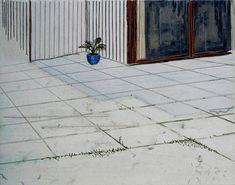 Michael Raedecker - Shot 1997 Acrylic and Thread on Linen 50 x 70cm