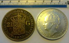 TWO BIG SILVER 2 1/2 Gulden NETHERLANDS 1930 y 1937 y, 2.5 two and haft