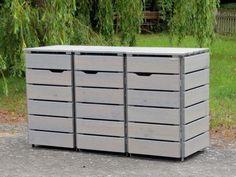Mülltonnenbox Holz - Holzweise Garbage Can Shed, Garbage Storage, Storage Bins, Garbage Containers, Outdoor Furniture, Outdoor Decor, Garden Design, Washing Bins, Hide Trash Cans