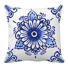 Chic Delft Blue Floral Design. Pretty and trendy throw pillow. Beautiful and elegant customary Dutch flower pattern. For the lover of Delfts Blue pottery or tile ceramics from the Netherlands. Cute and fun birthday gift or Christmas present for mom or dad, the antique motif designer or vintage retro art lover. Original, classy, chic and stylish pillow for the master or children's bedroom, college dorm, nursery, living or family room, log cabin, beach house, country cottage or vacation home.