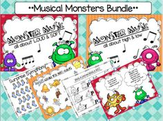 Musical Monsters Bundle by Morgan's Musical Moments Bundle Monster, Class Activities, Music Classroom, Music Lessons, Monster High, Teacher Pay Teachers, Monsters, Worksheets, High Low