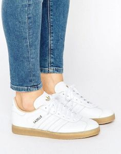 adidas Originals White Leather Gazelle Sneakers With Gum Sole