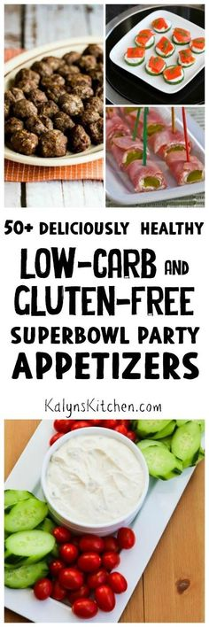 50+ Deliciously Healthy Low-Carb and Gluten-Free Superbowl Appetizer Recipes found on KalynsKitchen.com