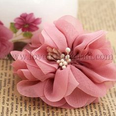 Handmade Flowers with White Petal Pink Fabric