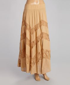 This Beige Zigzag Lace Maxi Skirt - Women by Raj Imports is perfect! #zulilyfinds