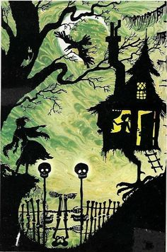 """""""The Kingdom Under the Sea and Other Stories"""" illustrated by the Polish-British artist Jan Pieńkowski, Shadow Silhouette, Fall Art Projects, Baba Yaga, Fairytale Art, Stencil Art, Autumn Art, Halloween Kids, Under The Sea, Easy Drawings"""
