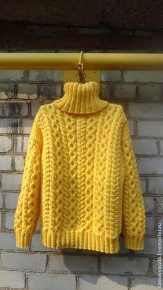 Купить Вязаный толстый свитер SOL - жёлтый, свитер, свитер женский, свитер вязаный