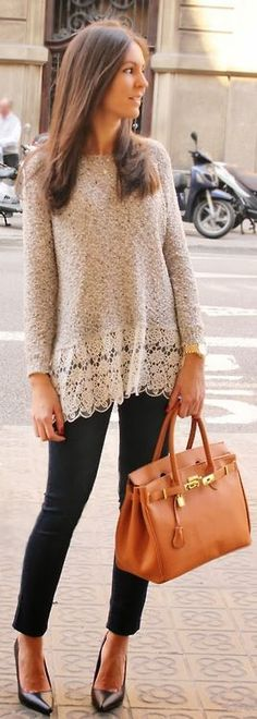 Charm Fall fashion || long sweater with lace trim, black leggings and heels!