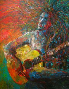 guitarist...  - Painting by Shanaka Kulathunga at touchtalent