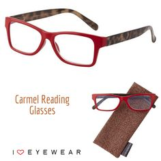 """Meet our new Carmel reading glasses! These fierce red frames pair perfectly with tortoise arms/temples. Order the """"No Power"""" option to have your eye doctor fit them with your prescription lenses! Get yours today for just $20!"""
