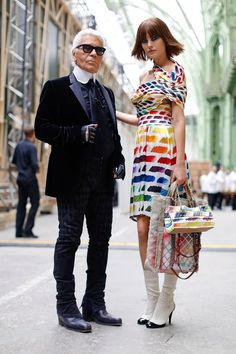 Karl Lagerfeld and Catherine McNeil Backstage at Chanel Spring...