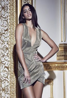 Missguided - Peace + Love Plunge Metallic Wrap Dress Gold
