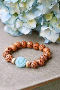 Amazonitewood beadedcopperyogastretch bracelet. par tiedupmemories