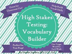 """This product is designed to teach your upper elementary and middle school students """"high stakes"""" words often found on standardized tests.  Includes 40 words, definitions, and worksheets, and lasts year-round!"""