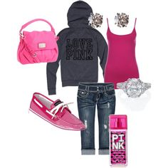 And pink sperry's! Pink Outfits, Fashion Outfits, Country Girl Style, Cute Comfy Outfits, Crew Neck Shirt, Casual Boots, Dress To Impress, Victoria Secret Pink