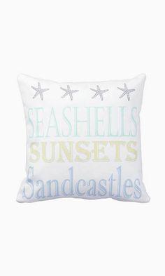 Pillow Cover Beach Decor Summer Seashells Sunsets
