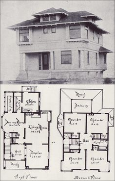1908 Voorhees - NW Craftsman  Somewhere between a classic Craftsman and 4 Square. LOVE this floorplan - just not super practical for modern living.