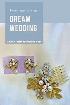Matte gold, pearls, and rhinestones make for a regal mix for this bridal hair comb and earring set. Delicate matte gold leaves are accented with various sizes of pearls and dotted with Swarovski rhinestones to create this contemporary bridal hair comb and earring set. The matte gold is a must see in person !!. #clarissaboutiquepittsburgh #clarissaboutique #burghbrides #bridetobe #bridaljewelry #bridalstyle #wedding #bridalset #bridalaccessories  #bridalearrings bridaljewelryset #bridalcomb