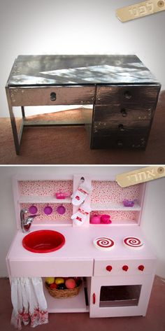 DIY Play Kitchen Before & After made from an old desk