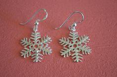 925 Sterling Silver Christmas Snow Flake Earrings - Holidays Snow Flake Earrings