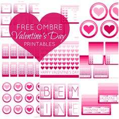 Free Full set of Ombre Valentine's Day Party Printables #ombre #valentine