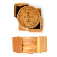 Round Wood Coasters (6) - Circle with Dots Design Personalized with Monogram and Name thru Initial and Est. Date