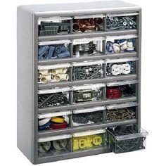 18-Bin Plastic Drawer Cabinet Storage Organizer, Silver Gray #StackOn