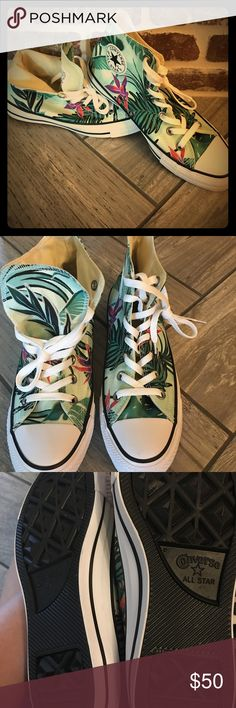 New Women's chuck Never worn Converse high top tropical design. Sorry no shoebox Converse Shoes Sneakers