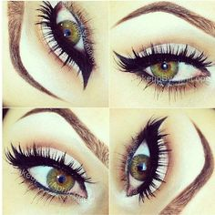 Pale lid, small winged liner, lashes