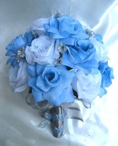 baby blue and sliver wedding flowers | Wedding Bouquet Bridal Silk Flowers Blue Silver White 17pc