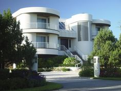 """Art Moderne Beach House ...""""The sleek Art Moderne style originated in the Bauhaus movement, which began in Germany."""""""