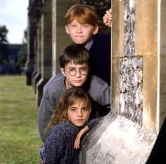 "Publicity photos of Daniel Radcliffe, Emma Watson, and Rupert Grint after they were cast in ""Harry Potter and the Sorcerer's Stone"", 2000"