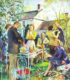 First Day of Spring, art by John Gannam. A wonderful illustration of an ideal America. Note by Roger Carrier