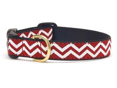 Red and White Chevron Ribbon Dog Collar- Team Spirit Dog Collars - BeauJax Boutique
