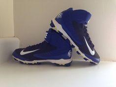 Nike HUARACHE - Youth High Top Blue Baseball Softball Spikes Cleats Sz US 7 Y #Nike