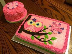 Owl sheet cake and smash cake