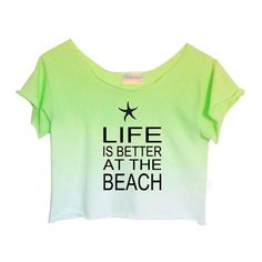 """Life is Better at the Beach"" Green Ombre Tie Dye Crop Top #ombretiedye #croptop #lifeisbetteratthebeach $24"
