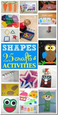25 Shape Crafts - so many fun, creative, and creative shape crafts for toddler, preschool, prek, and kindergarten age kids. LOVE THIS!