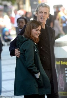 I've got you: The new Time Lord was pictured giving Jenna a friendly cuddle on the busy high street
