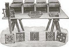 Een vormbank met mallen, vormroosters en kleursjablonen voor de handmatige productie van ingelegde gefigureerde tegels, ontwikkeld door de Duitse firma Carius  (collectie M. Baeck)