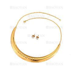 collar y aretes de moda de dorado en acero para mujer-SSNEG263129