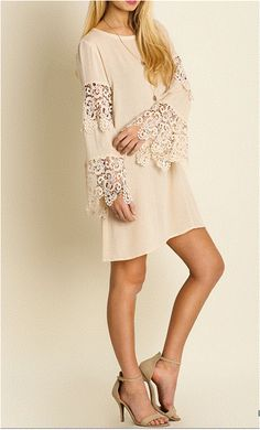 Precious Moments Umgee Boho 70's Crochet Lace Bell Sleeve Dress - Natural Cream - Debra's Passion Boutique - 1