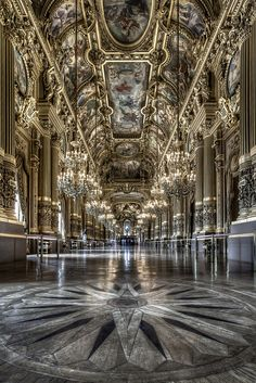 Le Palais Garnier (Paris opera house) - Grand Foyer/ one of my favorite places in paris Architecture Antique, Beautiful Architecture, Beautiful Buildings, Art And Architecture, Beautiful Places, Russian Architecture, Classical Architecture, Places To Travel, Places To Visit