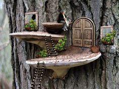Fairy Garden Doors, Mini Fairy Garden, Fairy Doors, Fairy Tree Houses, Fairy Garden Houses, Gnome Garden, Potager Garden, Tree House Decor, Tree Mushrooms