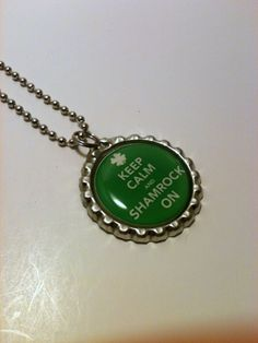 Keep Calm and Shamrock On bottle cap necklace by LillypadPark, $4.95