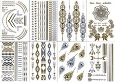 Premium Temporary Metallic Tattoos - Gold, Silver and Multi-Colored By BG247® (Style 1 - 8 Sheets) -- Read more reviews of the product by visiting the link on the image.
