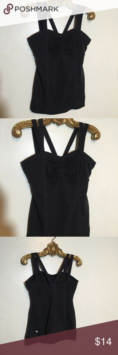 Lululemon 8 Black Bra Tank Top built in light - medium support bra plus removable cup pockets this cross back tank Size 8 is is in good condition has been very gently worn & laundered, has faded a bit lululemon athletica Tops Tank Tops