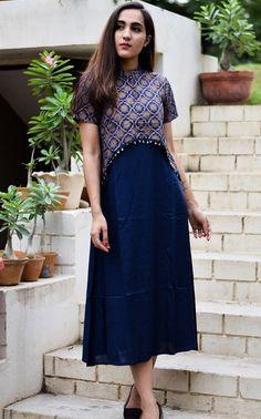 Blue dress with printed overlay top @dvibgyor.com #overlaytopdress #indianprints #elegance #promdress #partydressing #designerwear #dvibgyor