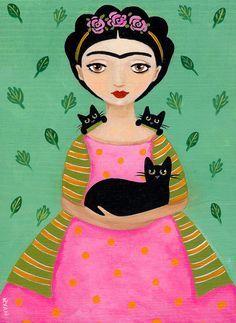 """Fridas Black Cats Original Cat Folk Art Painting by KilkennycatArt                                                                                                                        <div class=""""pinSocialMeta"""">                                         <a class=""""socialItem"""" href=""""/pin/307089268315990345/repins/"""">             <em class=""""repinIconSmall""""></em>             <em class=""""socialMetaCount repinCountSmall"""">                 44             </em>         </a>                         <a…"""